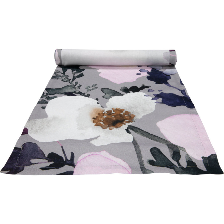 Anemone Table Runner Grey & Pink Medium