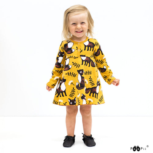 Yellow Fox Onesie Dress