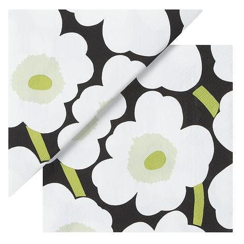 Unikko Black, Green and White Cocktail Napkins
