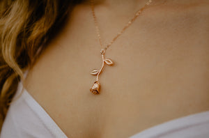 Delicate Rose Gold Rose Necklace