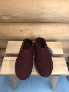 Felt Clog Merlot Low Back and Rubber Sole