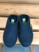 Felt Clogs Blue with Low Back and Rubber Sole
