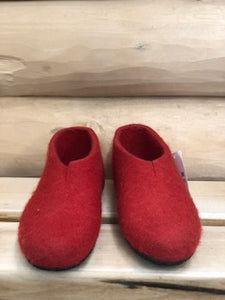 Felt Clogs Red with High Back and Rubber Sole