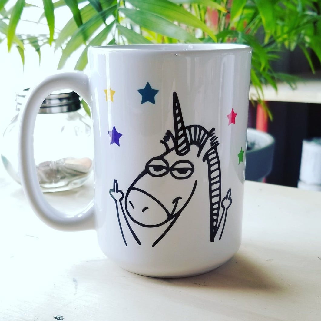 Funny Unicorn Mug - giving u the middle  finger