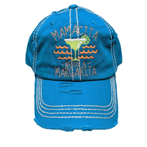 "Vintage look fun ""Mamacita needs a Margarita"" baseball Hat 
