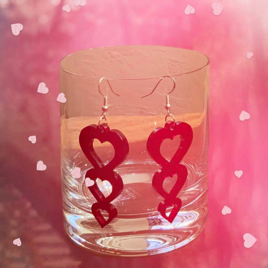 Red triple heart hanging earrings | Valentine's Day | USA