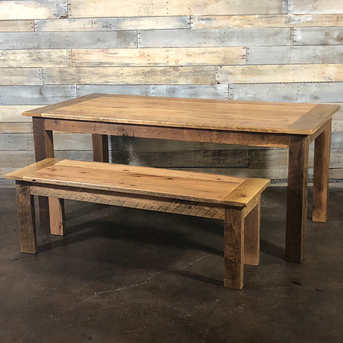 Reclaimed Barn Wood Farm Table and Bench