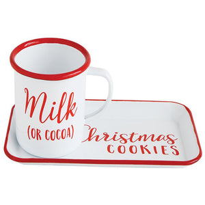 Enamel Tin Tray w/Mug, Christmas cookies & Milk