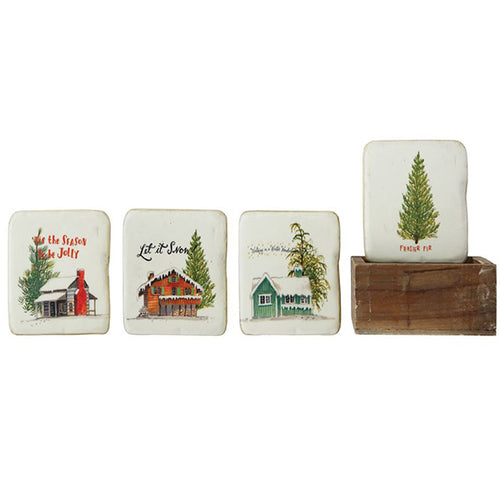 Resin coasters in wood box (Christmas)