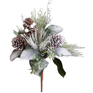 "19"" Snow Pine Needle/Berries/Pinecone/Leaves Bouquet"