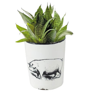 Enamel Pig Planter with Handle