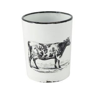 Enamel Cow Planter with Handle