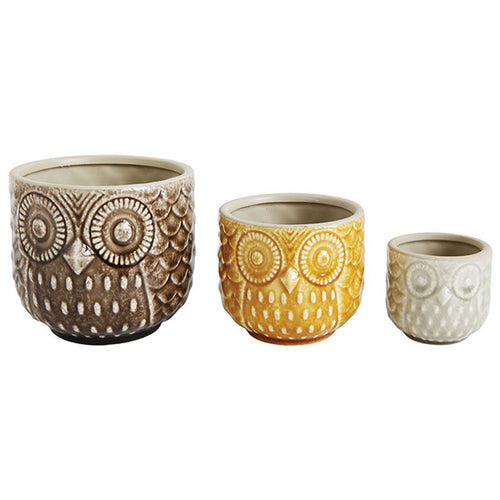 Round Stoneware Owl Pots, Set of 3