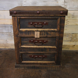 3 Drawer Nightstand with Nails/Metal/Distressed