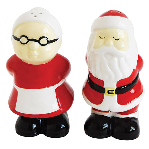 Ceramic Santa and Mrs.Clause Salt & Pepper Shakers