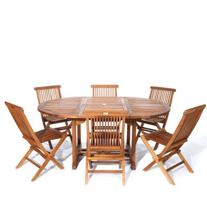 7pc Folding Chair and Oval Table Set