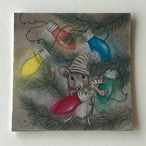 Mouse with Christmas Lights Drawing - Print
