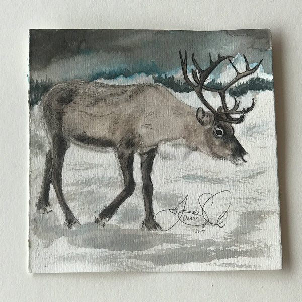 Reindeer and Snowy Landscape Painting - Print