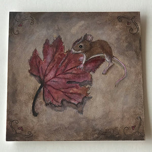 Mouse with Fall Leaf Drawing- Print