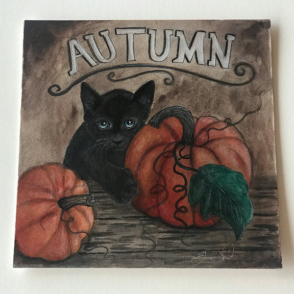 Kitty with Pumpkins for Fall Drawing - Print