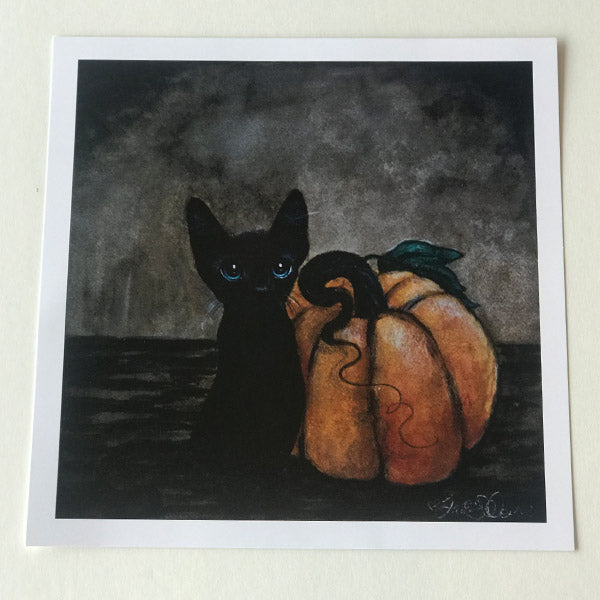 Cat with Pumpkin for Fall Drawing - Print