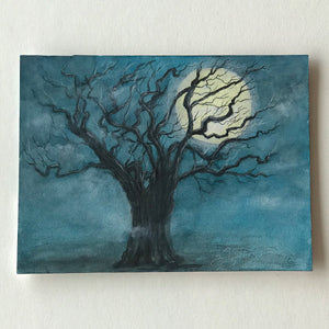 Crooked oak tree with full moon for Fall Drawing - Original