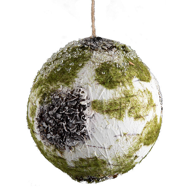 Birch Ball Ornament w/moss&ice