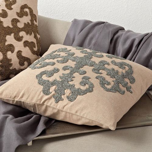 Beaded Medallion Design Pillow-Square
