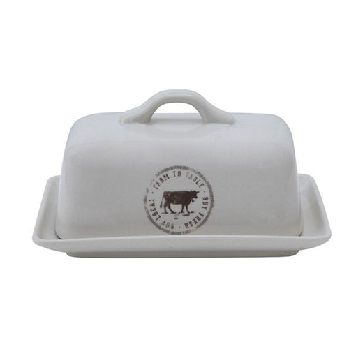 Stoneware Butter Dish w/Cow