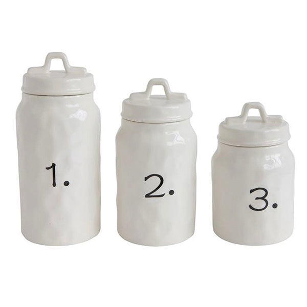 Ceramic Canisters w/Numbers
