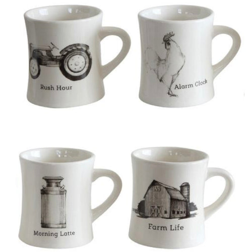 Ceramic Mug w/Farm Icon, 4 Styles