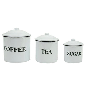 """Coffee"", ""Tea"" & ""Sugar"" Containers w/Lids"