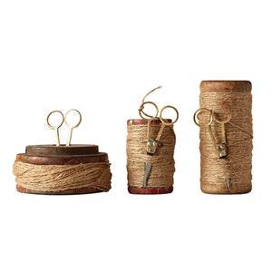 Found Wooden Spools w/Jute & Scissors (Set of 3)