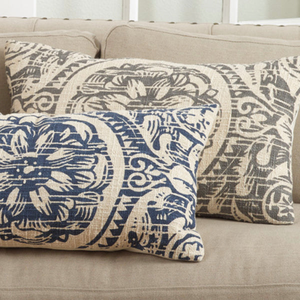 Floral Distressed Pillow-Oblong