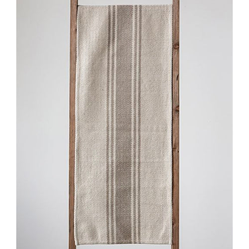 Cotton Canvas Table Runner w/Stripes