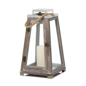 Pyramid Wooden Lantern with Rope