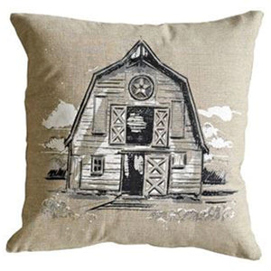 Square Cotton Pillow w/Farm image
