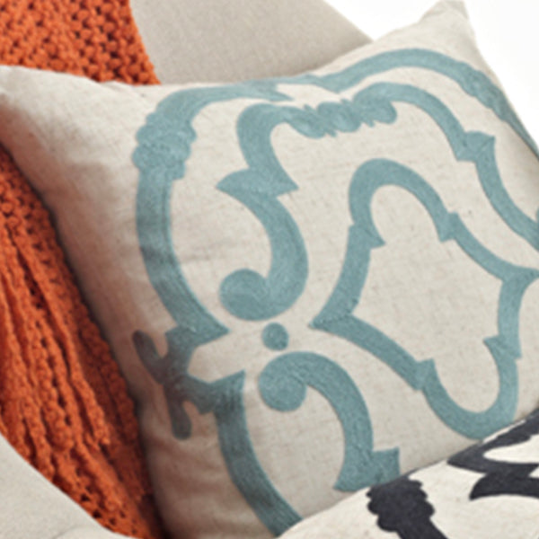 Embroidered Design Pillow-Filled-Square