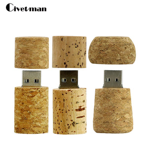Plug Thumbdrive 32GB 16GB 8GB 4GB USB 2.0 Natural Wood Wine Corks Shape Usb Flash Drive Memory Sticks Pendrive