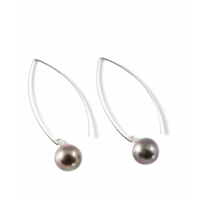 Sterling Silver Tahitian Pearl Threader Earrings