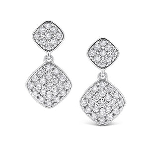 Diamond Double Cushion Drop Earrings