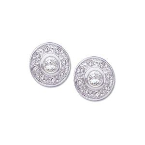Diamond Cluster Button Earrings
