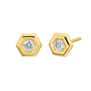 "Gumuchian 18k Gold and Diamond ""Mini B"" Stud Earrings"
