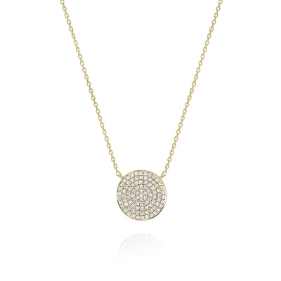Round Diamond Pavé Disc Pendant