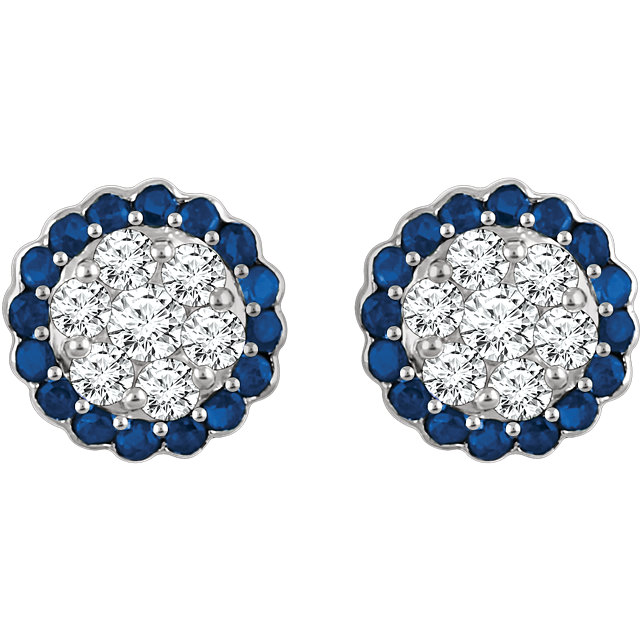 Gemstone and Diamond Halo Cluster Earrings