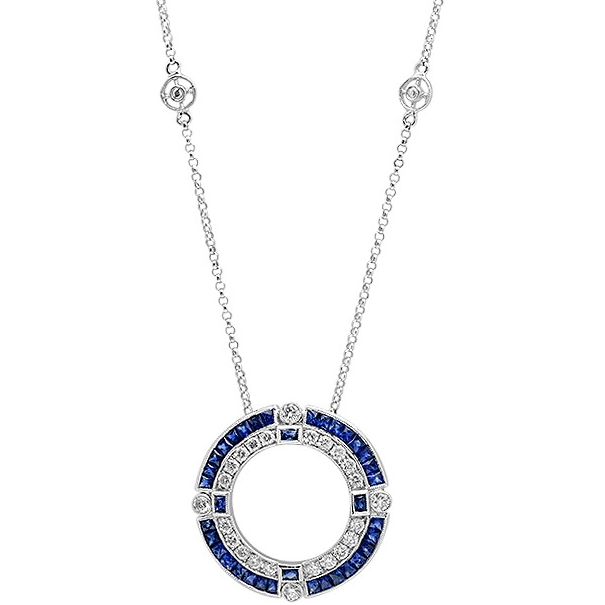Diamond and Sapphire or Ruby Circle Necklace