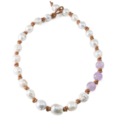 Amethyst & Baroque Pearl Necklace