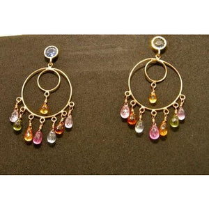 18kt and Multi-Colored Sapphire Earrings