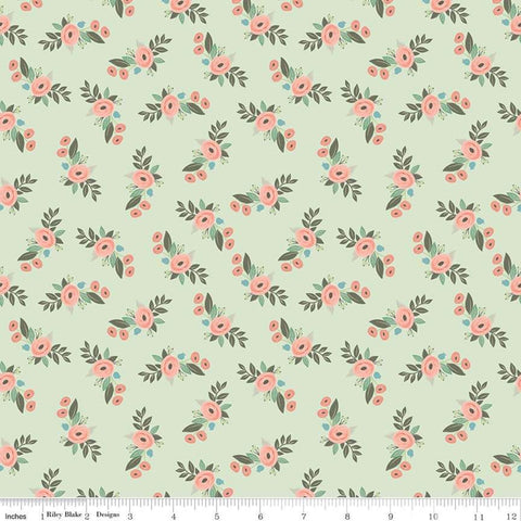 Bliss Floral Mint by My Mind's Eye- Riley Blake Designs