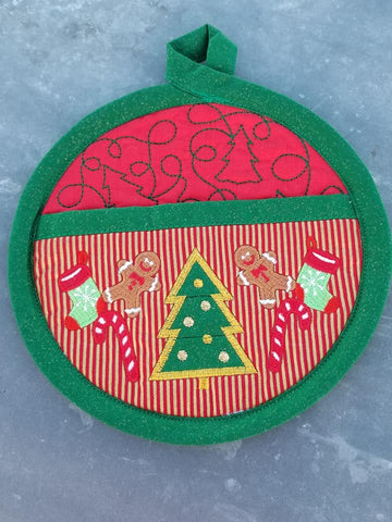 Round Hanging Christmas Pot Holder